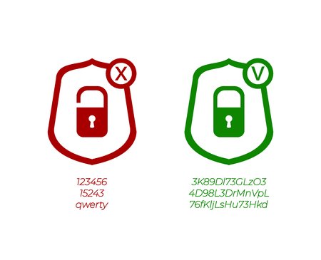 Vector Password Management Icons, Weak and Strong Passwords, Green and Red Signs Isolated on White Background. Vector Illustration