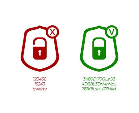 Vektor-Passwort-Management-Symbole, schwache und starke Passwörter, grüne und rote Zeichen, die auf weißem Hintergrund isoliert werden. Vektorgrafik