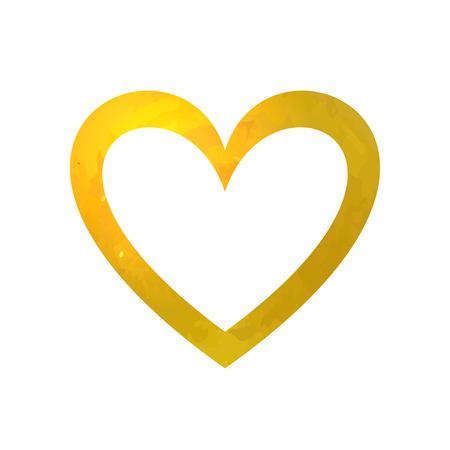 Vector leeg gouden frame, hartvormige rand, gouden textuur.