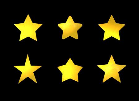 Vector Set of Golden Stars, Shining Marks Set Isolated on Black Background.