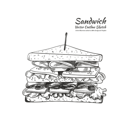 Vector Outline Drawing, a Sandwich with a Toothpick Isolated on White Background, Hand Drawn Illustration. Vectores