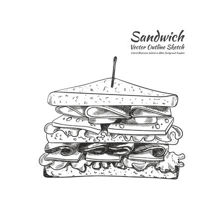 Vector overzichtstekening, een sandwich met een tandenstoker geïsoleerd op een witte achtergrond, met de hand getekende illustratie.
