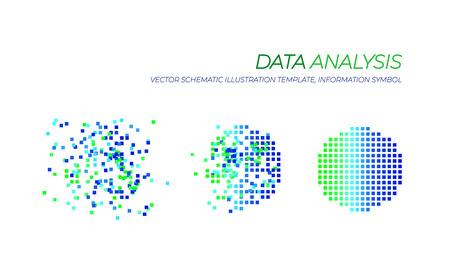 Vector Big Data Analysis  Illustration, Technology Elements Isolated on White Background. Stock Illustratie