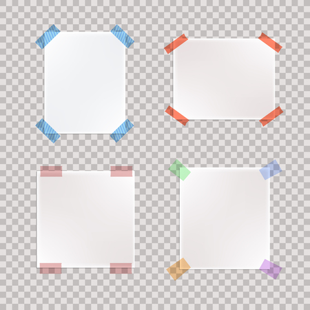 Vector Set of Realistic Taped Paper Pieces, Blank Notes.