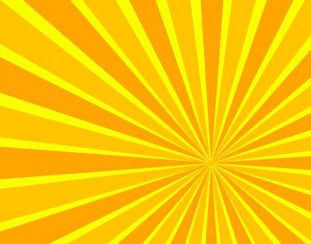 Fond de rayons de soleil de vecteur, couleurs orange et jaunes vives, soleil de dessin animé. Vecteurs