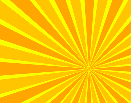 Vector Sun Beams Background, Bright Orange and Yellow Colors, Cartoon Sunshine.