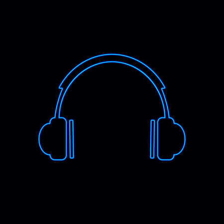 Vector Neon Headphones Icon, Glowing Illustration Isolated on Black Background.