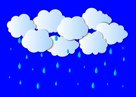 Vector Rain Background, Light Gray Clouds and Bright Blue Drops, Paper Art.