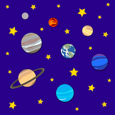 Vector Background with Planets and Stars, Cosmic Backdrop, Colorful Illustration, Paper Art.