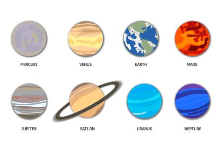 Vector Solar System 8 planetas, objetos planos de dibujos animados con sombras aisladas sobre fondo blanco. Ilustración de vector
