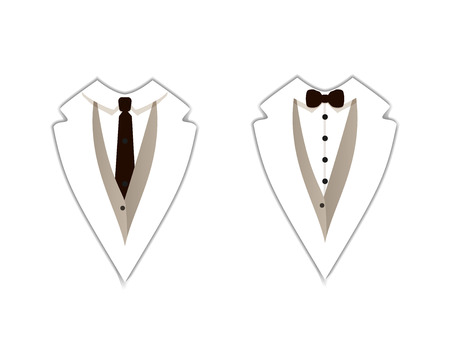 Vector Icons: White Tuxedo, Official Clothing, Straight Tie and Bow Tie, Isolated on White Background Flat Signs. Illusztráció