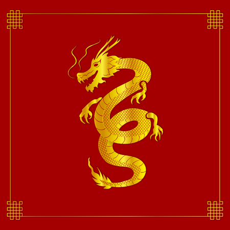 Vector Oriental Dragon, Golden Paper Art with Endless Node Frame on Bright Red Background.