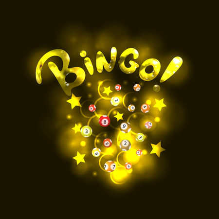 Vector BINGO Lettering: Golden Realistic Letters and Shiny Lottery Balls, Stars and Circles, Background Template.