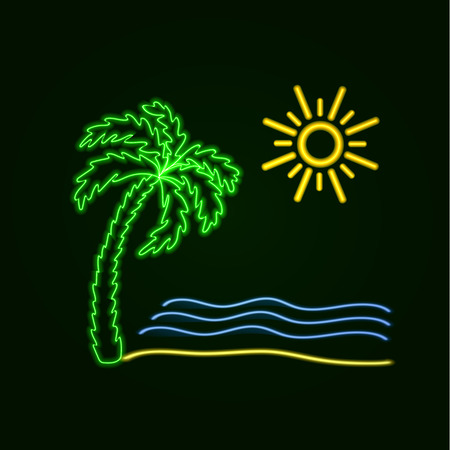 Vector Neon Beach Icon, Glowing Icon, Ocean, Palm and Sun, Bright Colored Illustration.