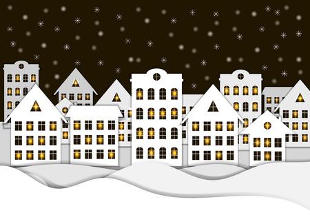Fondo di Natale di vettore, città innevata di notte, illustrazione di stile di arte di carta con finestre lucide.
