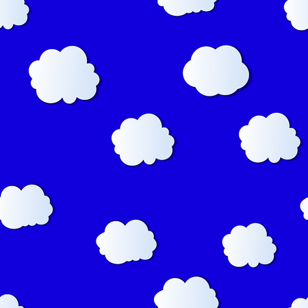 Vector Seamless Pattern: Colorful Cloudy Sky, Bright Blue Background with White Origami Style Clouds.