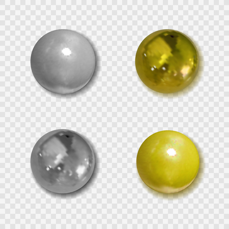 Vector Realistic Golden and Silver Pin Buttons with Shadows on Transparent Background, Clipart Metallic Balls.