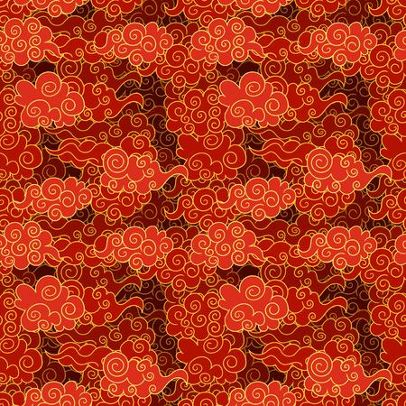 Vector patrón de nubes orientales sin fisuras, colores rojo y dorado, plantilla de fondo.