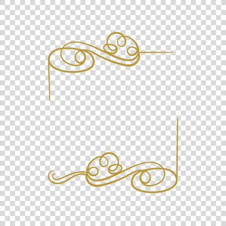 Vector Golden Frame Isolated, Blank Border, Filigree Calligraphic Design Element.