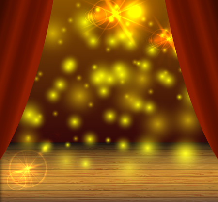 Vector Stage Background, Magical Light Spots, Shine Effect, Theater Curtains, Magic Show. 矢量图片