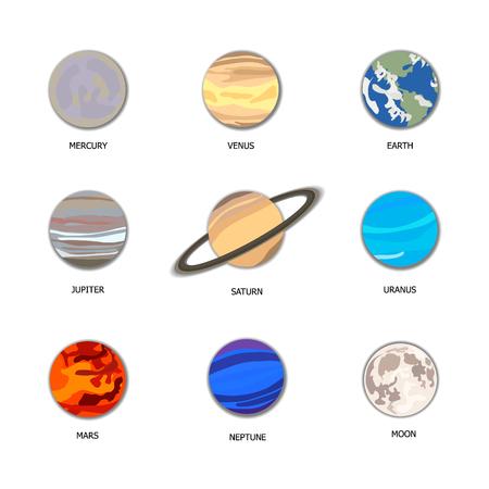 Vektor-Set von Planeten, Sonnensystem-Illustration, geschnittene Papierdekorative Elemente.