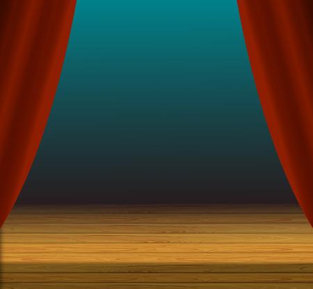 Vektor-Karikatur-Bühnen-Hintergrund, rote Vorhänge und Holzboden, bunte Illustration.