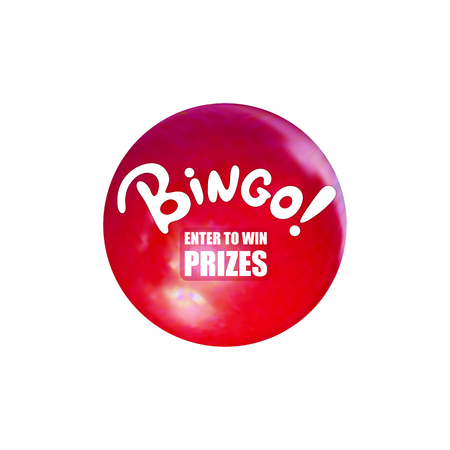 Vector Bingo Ball, Relistic Lottery Ball and Cartoon Word, Enter to Win Prizes Button, Illustration Isolated on White Background. Illustration