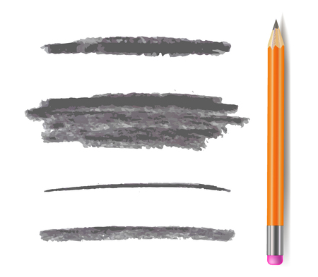 Lignes de crayon de vecteur, ensemble de coups de pinceau gris monochrome isolé sur fond blanc avec crayon graphite.