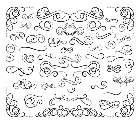 Vector Collection of Calligraphic Design Elements, Swirls Set, Black Lines Isolated on White Background.