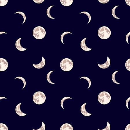 Modèle sans couture de vecteur : lune, fond sombre du ciel nocturne avec différentes phases de la lune, illustration de dessin animé.