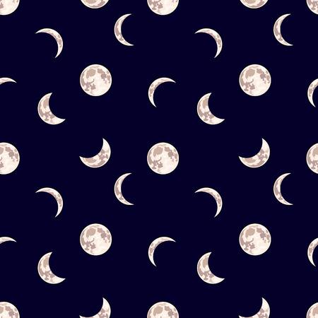 Reticolo senza giunte di vettore: luna, cielo notturno sfondo scuro con diverse fasi della luna, illustrazione del fumetto.