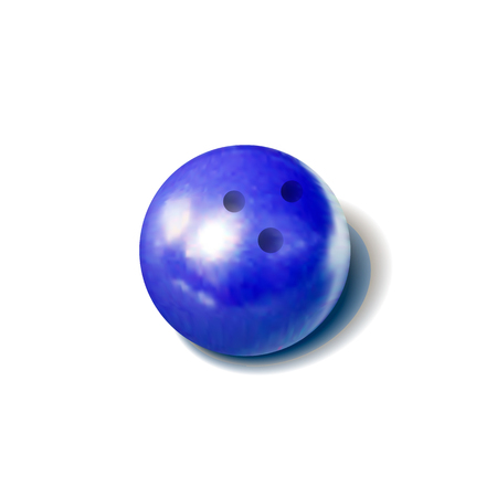 Vector Realistic Bowling Ball, Colorful Blue Object Isolated on White Background.