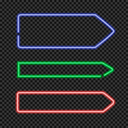 Vector Set of Shining Neon Arrow Shaped Frames, Blank Borders Collection on Transparent Dark Background. Vector Illustration