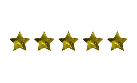 Vector Five Golden Stars, Premium Quaity Mark, Isolated on White Background Mark.
