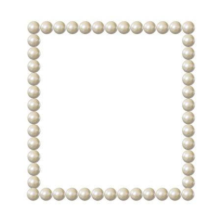Vector marco de perlas, borde cuadrado en blanco, elegante elemento de diseño vintage aislado sobre fondo blanco.