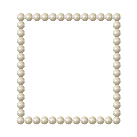 Vector Pearl Frame, Square Blank Border, Elegant Vintage Design Element Isolated on White Background. Фото со стока - 111477397