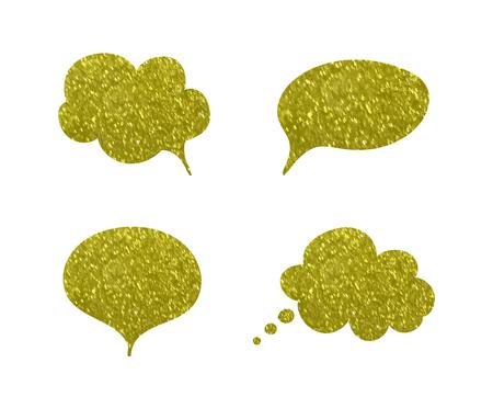 Vector Golden Festive Talk Bubbles, Glittering Textured Frames, Blank Decorative Elements, Quote Boxes.