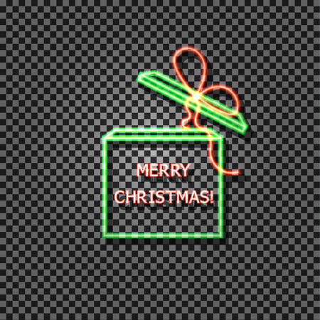 Vector Neon Merry Christmas Neon Gift Box with Box, Green and Red Colord, Isolated on Transparent Background Shiny Illustration.