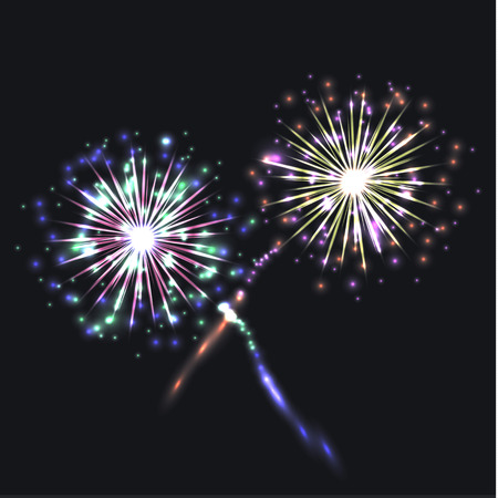Vector Colorful Fireworks Group, Festive Shining Elements on Dark Night Sky Background.