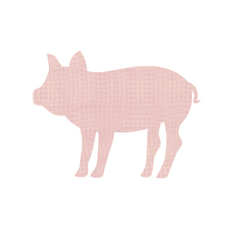 Vector Pink Linen Pig, Textile Texture, Isolated on White Background Illutration. Illustration