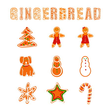 Vector Gingerbread Collection, Cookies Letters and Different Shapes, Christmastime Food.
