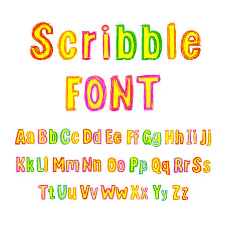Vector Colorful Scribble Font, Isolated on White Background Type Set, Bright Colors, Hand Drawn Alphabet.