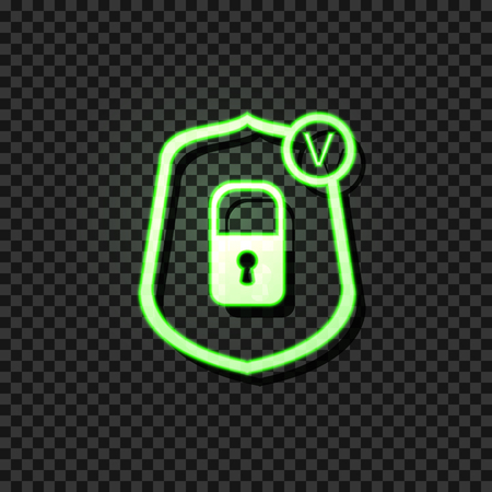 Vector Glowing Icon: Reliable Protection Concept, Lock Icon in Shield with Check Mark, Neon Green Sign Isolated on Dark Tansparent Background.