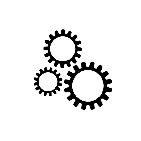 Vector Icon: Three Gears, Machine Technical Illustration, Black and White, Clockwork Concept.