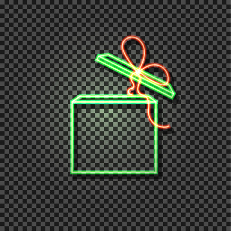 Vector Neon Green and Red Box, Glowing Icon on Dark Transparent Background, Gift Open Box with Bow.