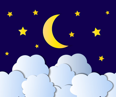 Vector Night Sky, Cartoon Illustration, Background, Bright Yellow Moon, Stars and White Clouds Shining on Dark Blue Backdrop.
