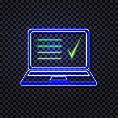 Vector Neon Laptop with Abstract List and Check Mark Isolated on Transparent Background, Shining Liner Illustration on Dark Backdrop.