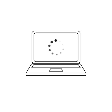 Vector Laptop Icon with Loading Symbol on the Screen, Black and White Outline Illustration. Illustration
