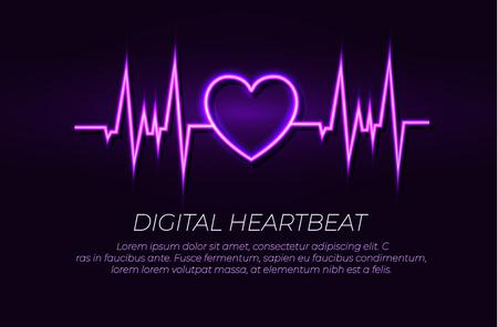 Vector Neon Heart Beat Line, Glowing Illustration, Shining Lights on Dark Background, Ultraviolet Color.