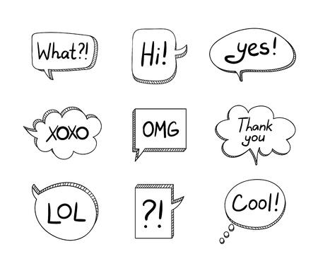 Vector conjunto de burbujas de conversación de dibujos animados en 3D dibujadas a mano aisladas sobre fondo blanco, colección de elementos de diseño negro.